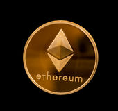 Isolated ether or ethereum coin with black background Stock Photography