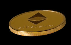 Isolated ethereum bitcoin against black Royalty Free Stock Image