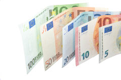 Isolated Euro banknote wave on white background Royalty Free Stock Photos