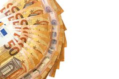 Isolated 50 euro banknotes white. Background Royalty Free Stock Image