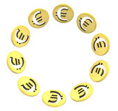 Isolated euro golden coin symbol on white Stock Images