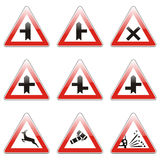 Isolated european road signs Stock Images