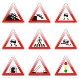 Isolated european road signs. Vector illustration of isolated european road signs Royalty Free Stock Photos