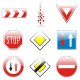 Isolated european road signs. Vector illustration of isolated european road signs Royalty Free Stock Images