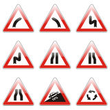 Isolated european road signs Stock Photos