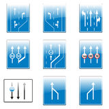 Isolated european road signs. Vector illustration of isolated european road signs Stock Photo