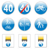 Isolated european road signs. Vector illustration of isolated european road signs Stock Image