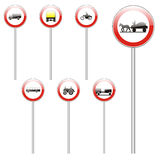 Isolated european road signs Stock Photo