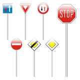 Isolated european road signs Royalty Free Stock Photos