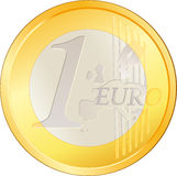 Isolated excellent Euro coin. Isolated excellent big Euro coin stock illustration