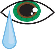 Eye Tear. Isolated eye with falling tear drop Royalty Free Stock Photo