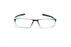 Isolated eye glasses. Isolated black aluminum eye glasses on white background royalty free stock image