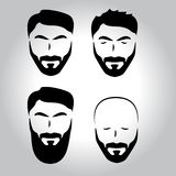 Isolated face with mustache, beard, hair vector logo set. Men barber shop emblem. Isolated male face silhouette with mustache and beard and hair vector logo set vector illustration