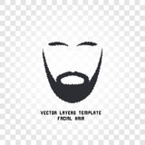 Isolated face with mustache and beard vector logo. Men barber shop emblem. Royalty Free Stock Photo