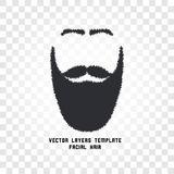 Isolated face with mustache and beard vector logo. Men barber shop emblem. Stock Photo