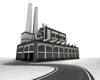 Isolated factory building with supply road Royalty Free Stock Images