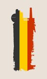Isolated factory icon and grunge brush. Belgium flag Stock Photography