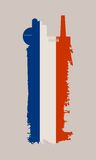 Isolated factory icon and grunge brush. France flag Royalty Free Stock Images
