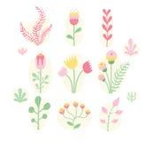 Isolated fairytale flowers. Cute fairytale flowers on white background stock illustration