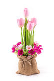 Isolated of fake flower with red tulips on white Stock Image