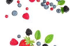 Isolated Falling Berries. Flying Strawberry, Raspberry Fruits, Cranberry, Blueberry And Mint Leaf. Creative Layout. Macro Royalty Free Stock Image