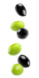 Isolated falling olives Royalty Free Stock Images