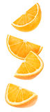 Isolated falling orange pieces Royalty Free Stock Photo