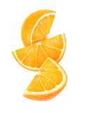 Isolated falling slices of orange Stock Photo
