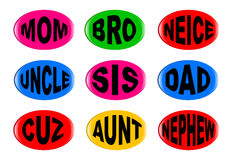 Isolated Family Buttons. A collection of family  3D buttons with various text instructions isolated on a white background Stock Images