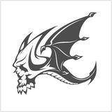 Isolated fantasy black dragon and skull for tattoo design. Stock Image