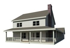 Isolated Farmhouse. Isolated 3D Rendering of a farmhouse Stock Photo
