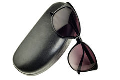 Isolated  fashion sunglasses with black leather case Royalty Free Stock Photography
