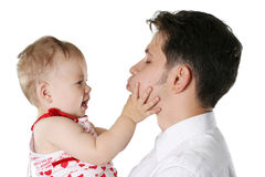 Isolated father with child. The young loving father with the child Stock Images