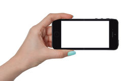 Isolated female hand holding smart phone. With isolated screen Royalty Free Stock Image