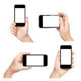 Isolated Female Hand Holding The Phone In Different Ways Royalty Free Stock Photography