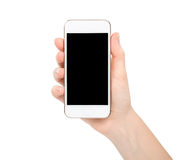 Isolated female hand holding white touch phone. With a black screen Stock Photo