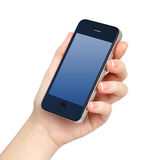 Isolated female hand holds the phone. Tablet touch computer gadget with blue screen Royalty Free Stock Images