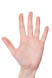 Isolated female hand showing number five Royalty Free Stock Photos