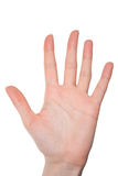 Isolated female hand showing number five Stock Photography