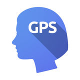 Isolated female head with  the Global Positioning System acronym. Illustration of an isolated female head with  the Global Positioning System acronym GPS Stock Photo