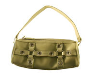 Isolated female purse. Female modern green purse isolated over white Royalty Free Stock Images