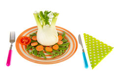 Isolated fennel with sugar snaps, carrots and paes Stock Photo