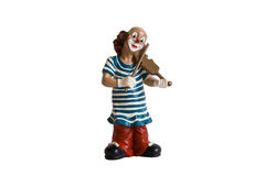 The isolated figurine of the clown with a violin Stock Images