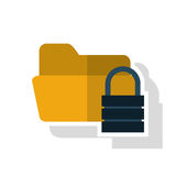 Isolated file padlock and data base design. File and padlock icon. Data base center and web hosting theme. Isolated design. Vector illustration Stock Photos