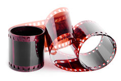 Isolated film 35mm. Roll of film on a white background Stock Images