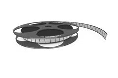 Isolated film reel. Closeup - 3d illustration on white background Royalty Free Stock Images