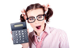 Isolated Finance Business Woman Holding Calculator Stock Images