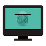 Isolated fingerprint and computer design. Fingerprint and computer icon. Identity security print and privacy theme. Isolated design. Vector illustration Stock Photo