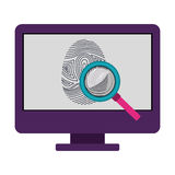 Isolated fingerprint and computer design. Fingerprint and computer icon. Identity security print and privacy theme. Isolated design. Vector illustration Stock Images