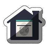 Isolated fingerprint and house design. Fingerprint and house icon. Identity security print and privacy theme. Isolated design. Vector illustration Stock Photography